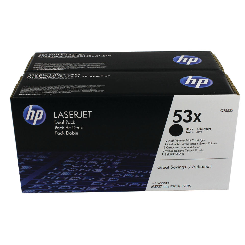 HP 53X Black High Yield Laserjet Toner Cartridges (Pack of 2) Q7553XD