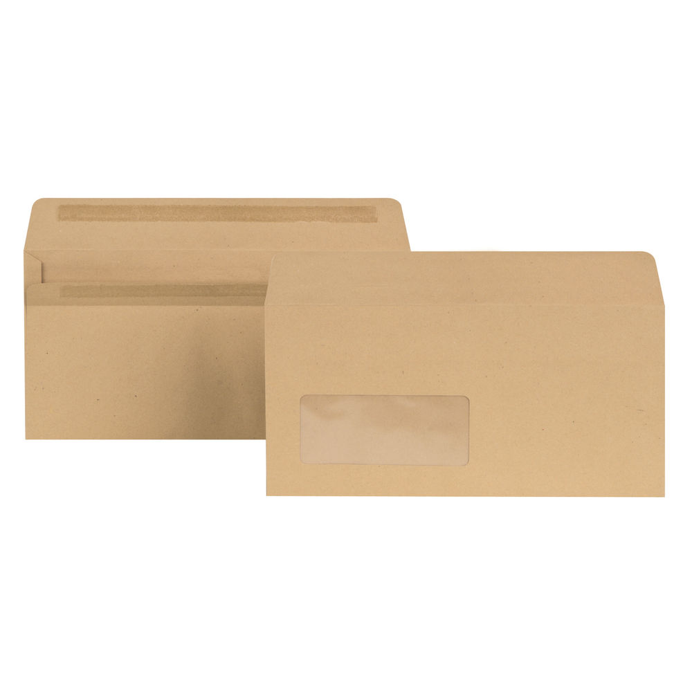 New Guardian DL Envelope Window SelfSeal Manilla (Pack of 1000) E22211