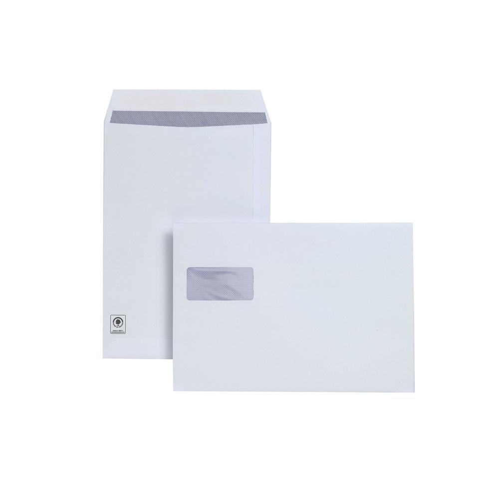 Plus Fabric White C4 Self Seal Pocket Window Envelopes 120gsm - Pk250 - JDF28749