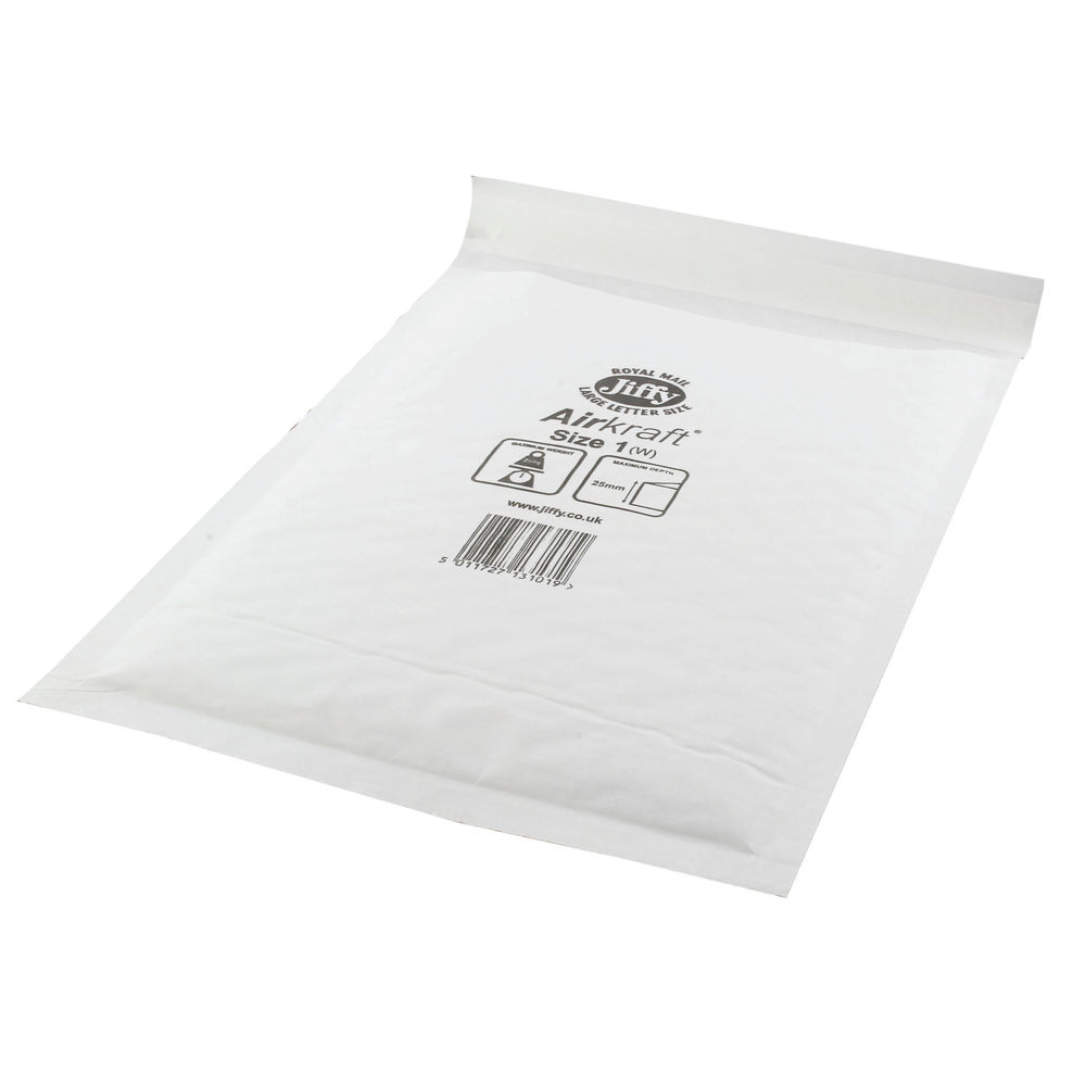 Jiffy Airkraft White Size 1 Mailers, Pack of 100 - JL-1
