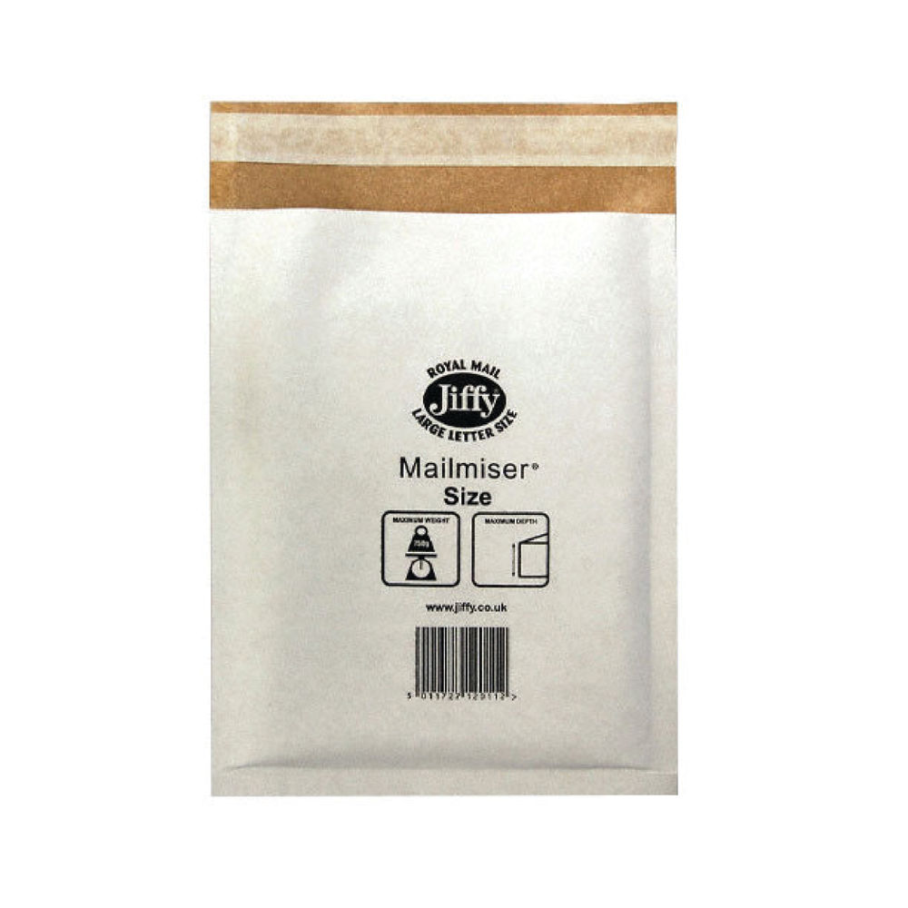 Jiffy Mailmiser Bag, Size 0, White - Pack of 100 - JMM-WH-0