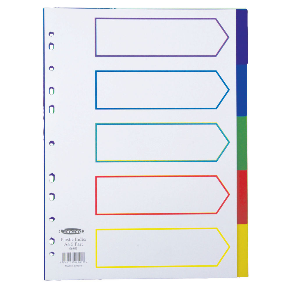 Concord A4 Polypropylene 5 Part Plain Multi-Coloured Tabs Index Dividers - 06801