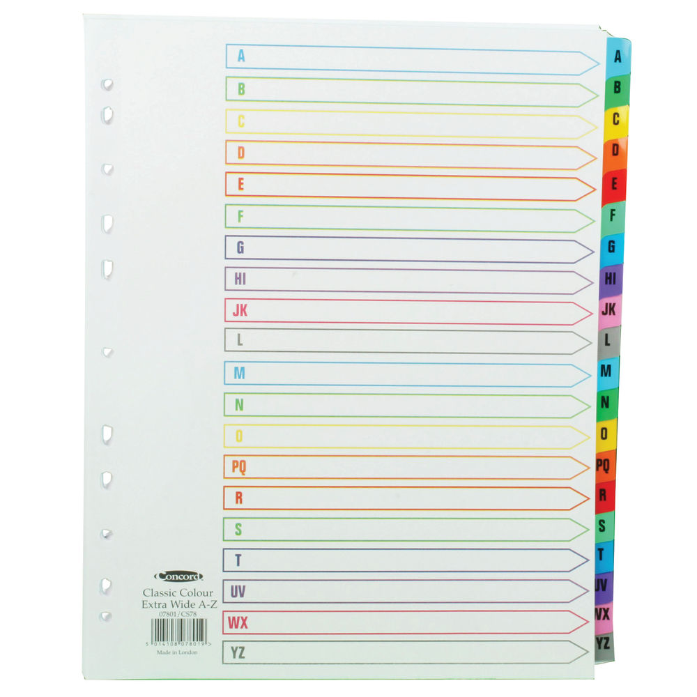 Concord A4 Extra Wide 20 Part Index Divider, Multi-Colour A-Z Tabs - 07801/CS78