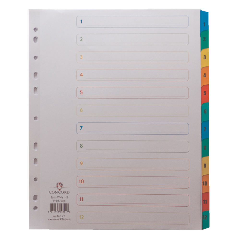 Concord Colour Mylar 1-12 Tabs A4 Extra Wide 12 Part Index Divider - 09801/CS98