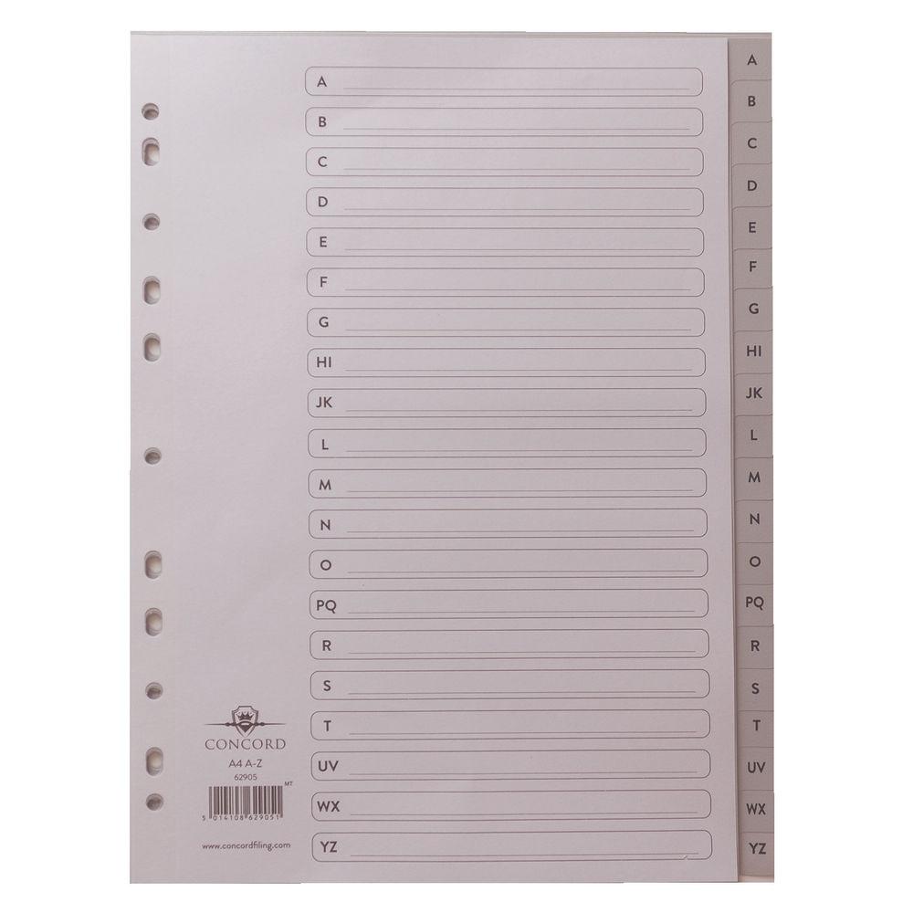 Concord A4 Grey Polypropylene Alphabetical Index Dividers - 62905