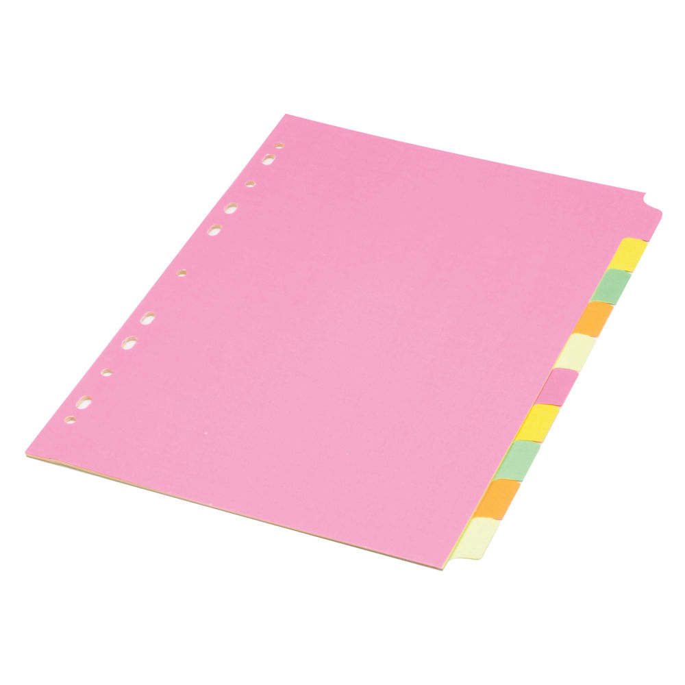 Concord A4, Fluorescent,  Plain Tabs, 10 Part Index Dividers - 89199/891