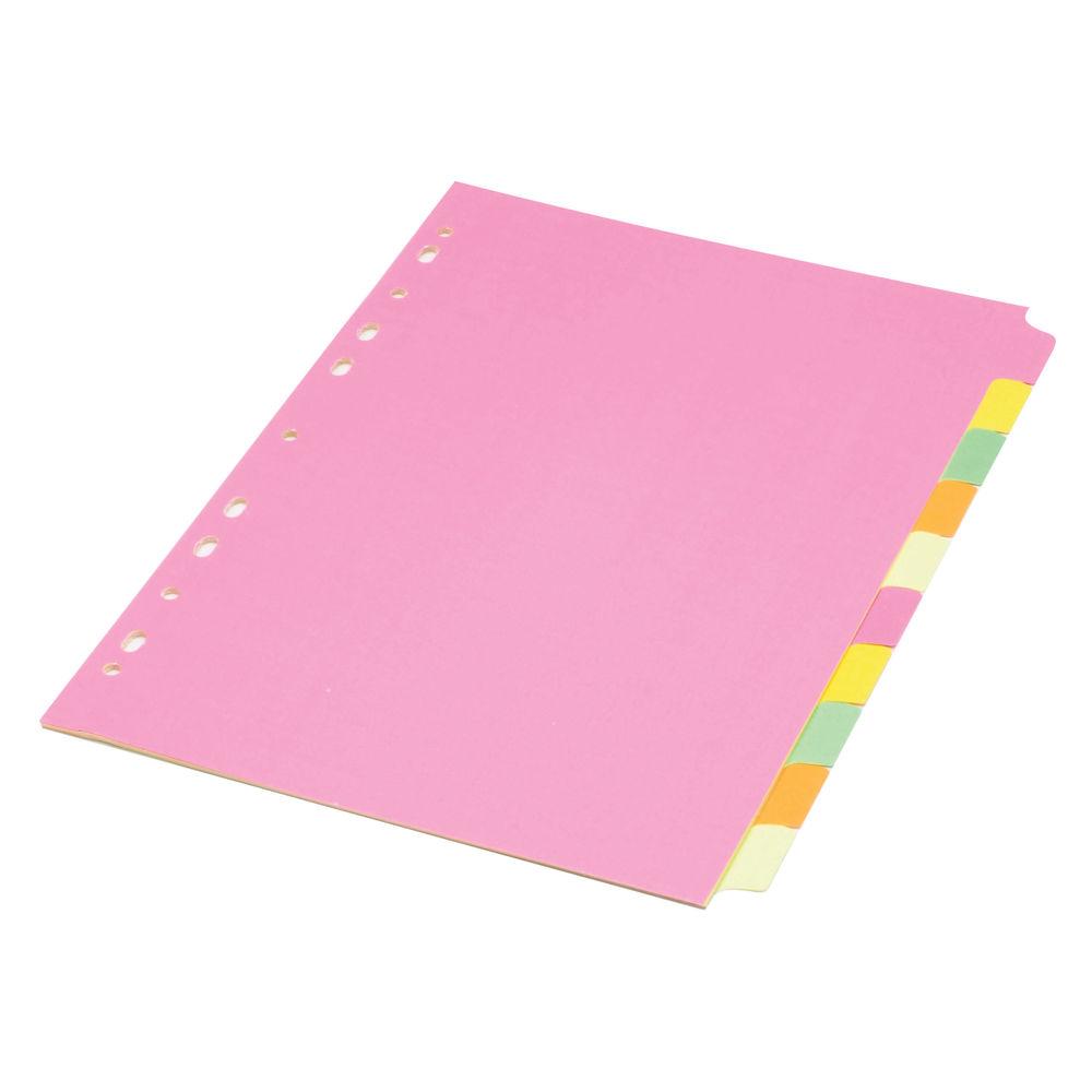 Concord A4, Fluorescent,  Plain Tabs, 10 Part Index Dividers - 89199/891