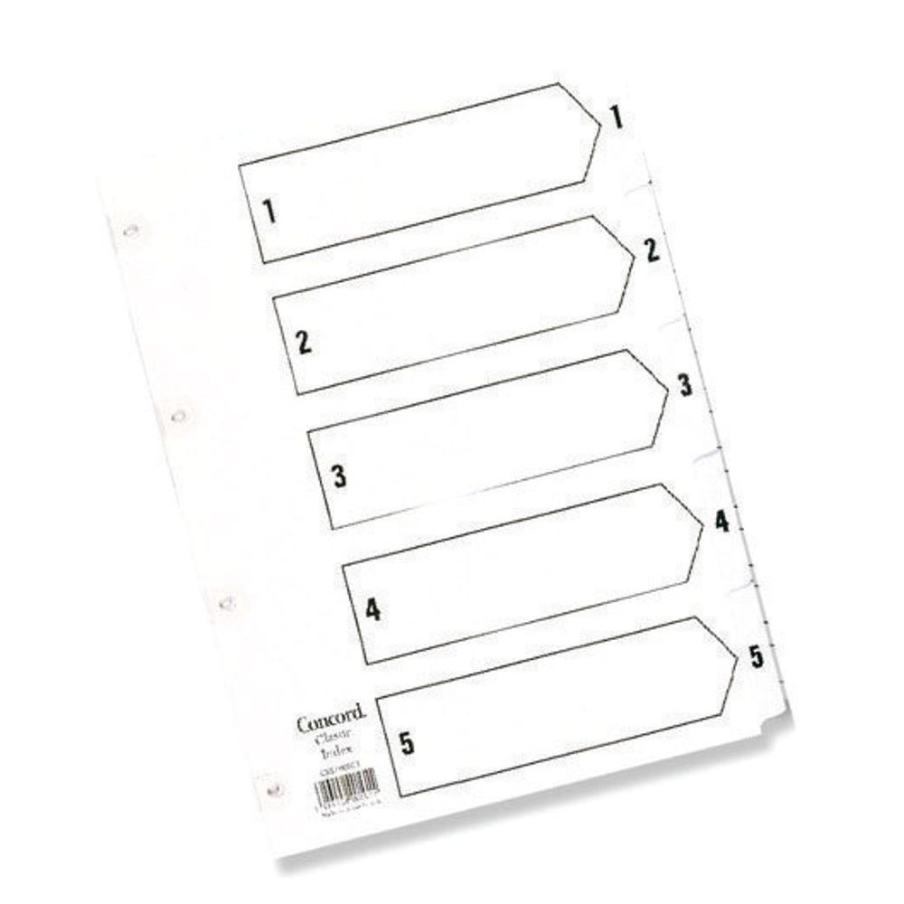 Concord 1-5 Numbered Tabs, White A5 5 Part Numeric Index Dividers - 07001/CS70