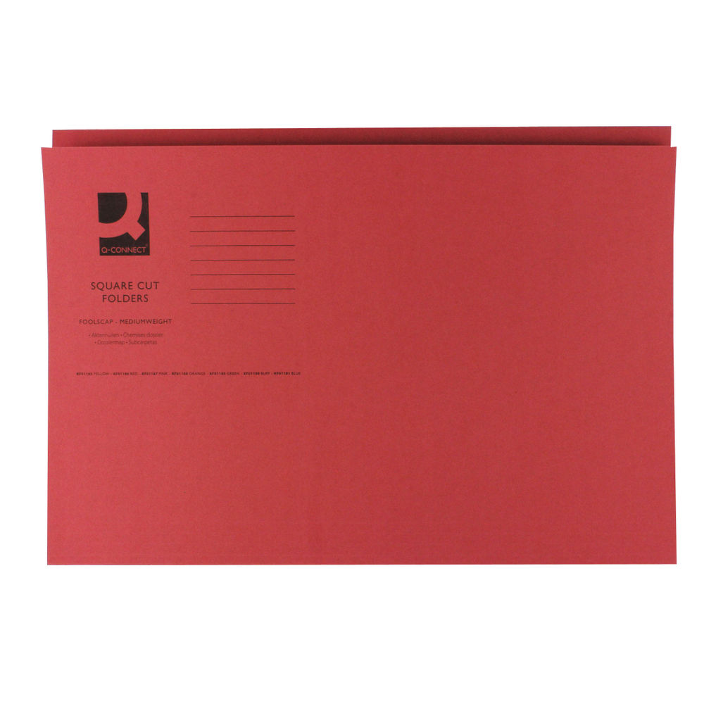 Q-Connect Red Foolscap Square Cut Folders 250gsm, Pack of 100 - KF01186