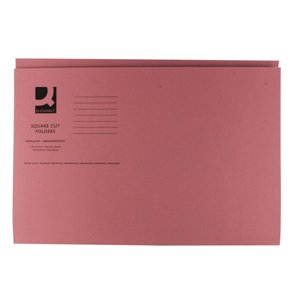 Q-Connect Pink Foolscap Square Cut Folders 250gsm, Pack of 100 - 43207