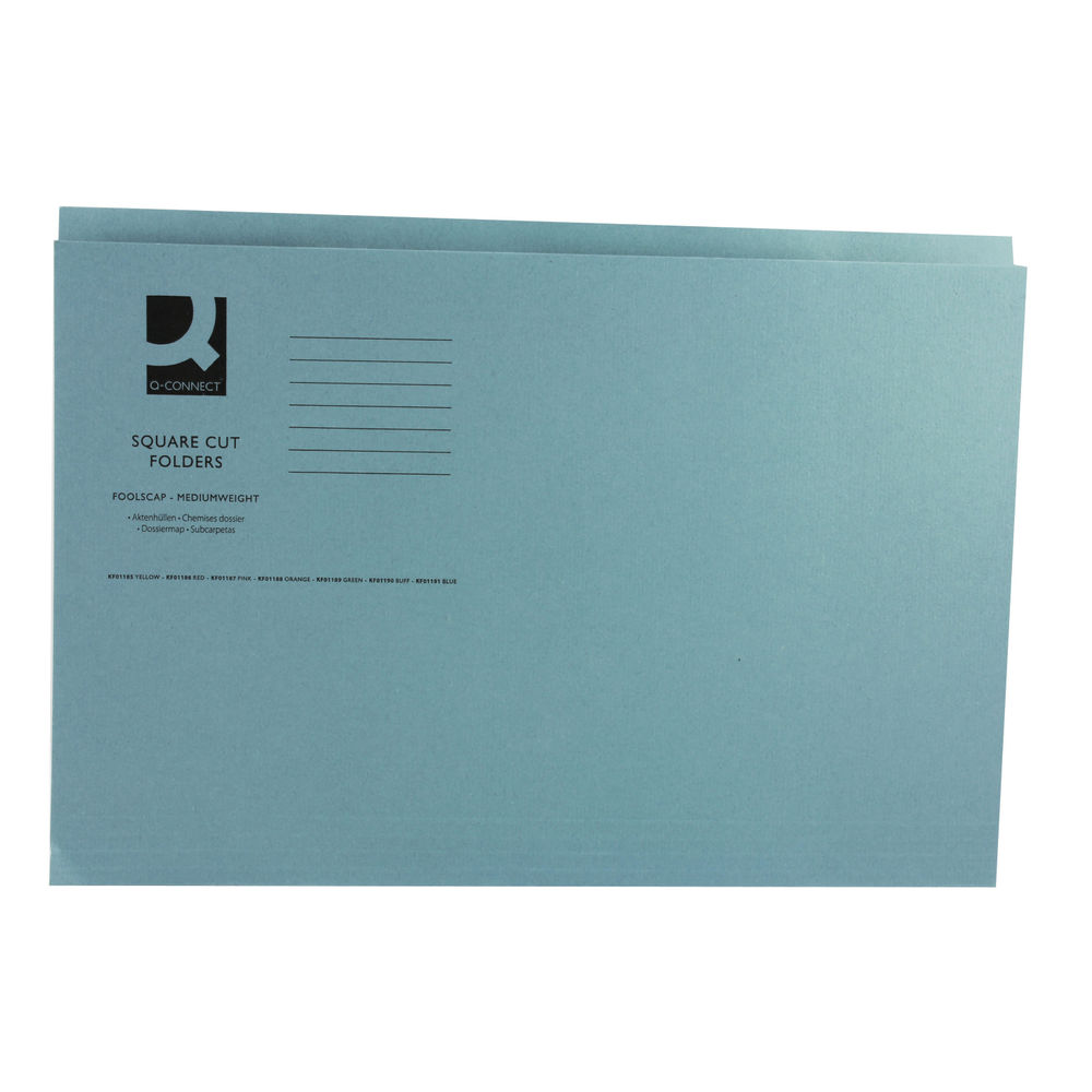 Q-Connect Blue Foolscap Square Cut Folders 250gsm, Pack of 100 - 43203