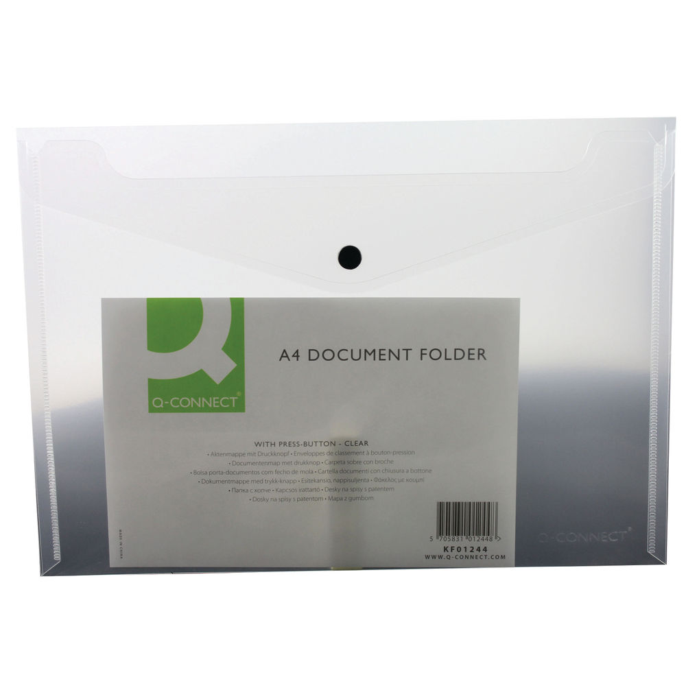 Q-Connect Clear A4 Polypropylene Folders, Pack of 12 – KF01244Q