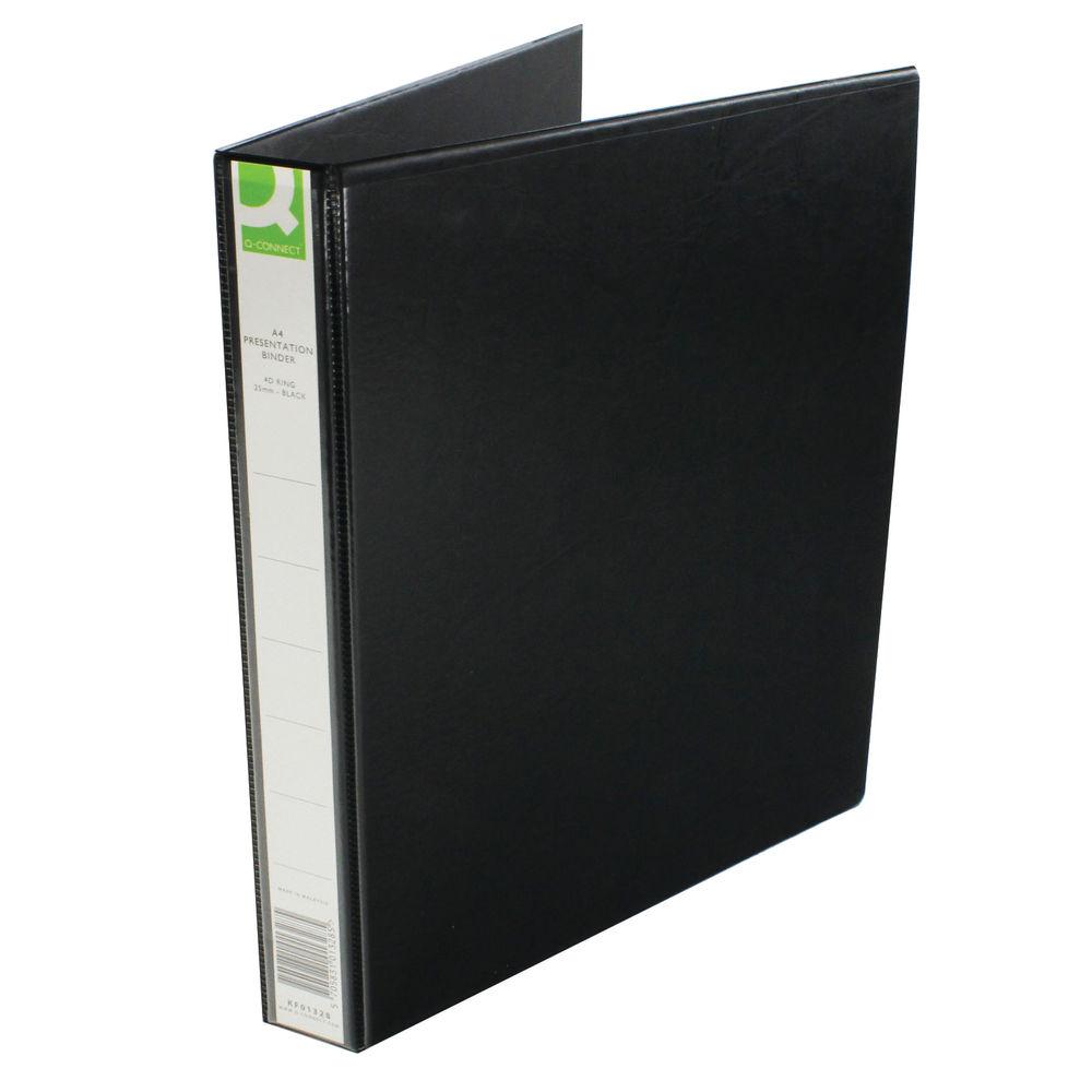 Q-Connect Black A4 25mm 4 D-Ring Presentation Binder - 98445CONTR