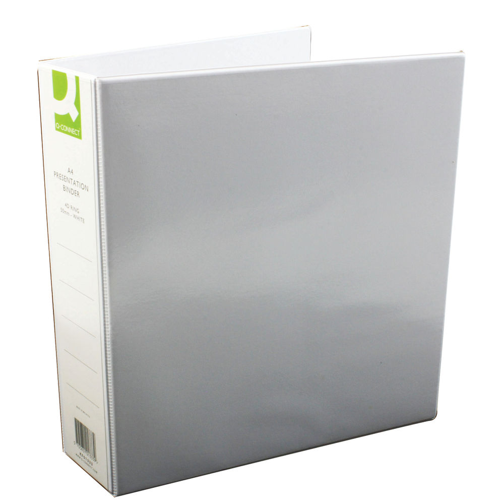 Q-Connect White 50mm A4 4 D-Ring Presentation Binder, Pack of 6 - KF01333Q