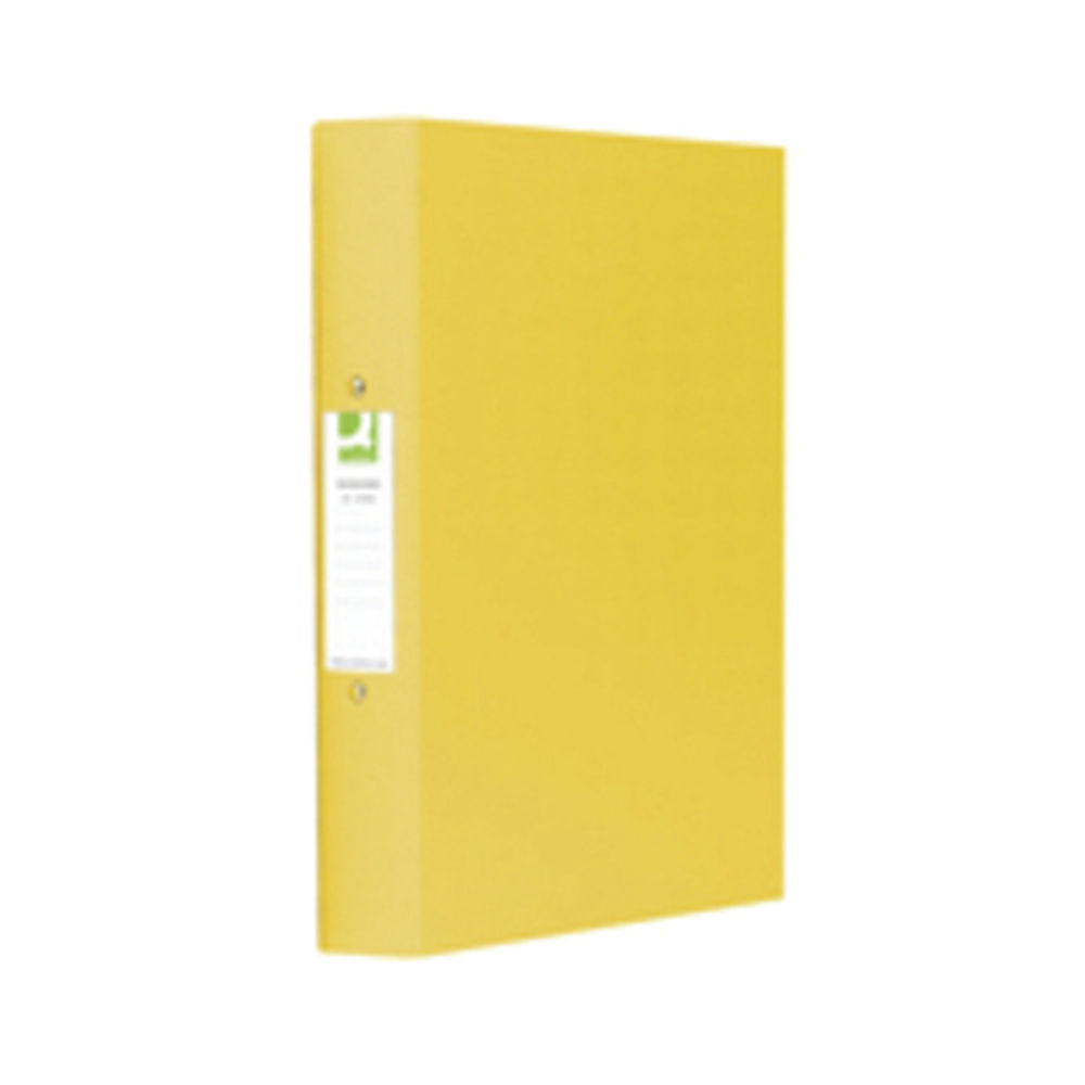 Q-Connect Yellow A4 25mm 2 O-Ring Binders, Pack of 10 - KF01472