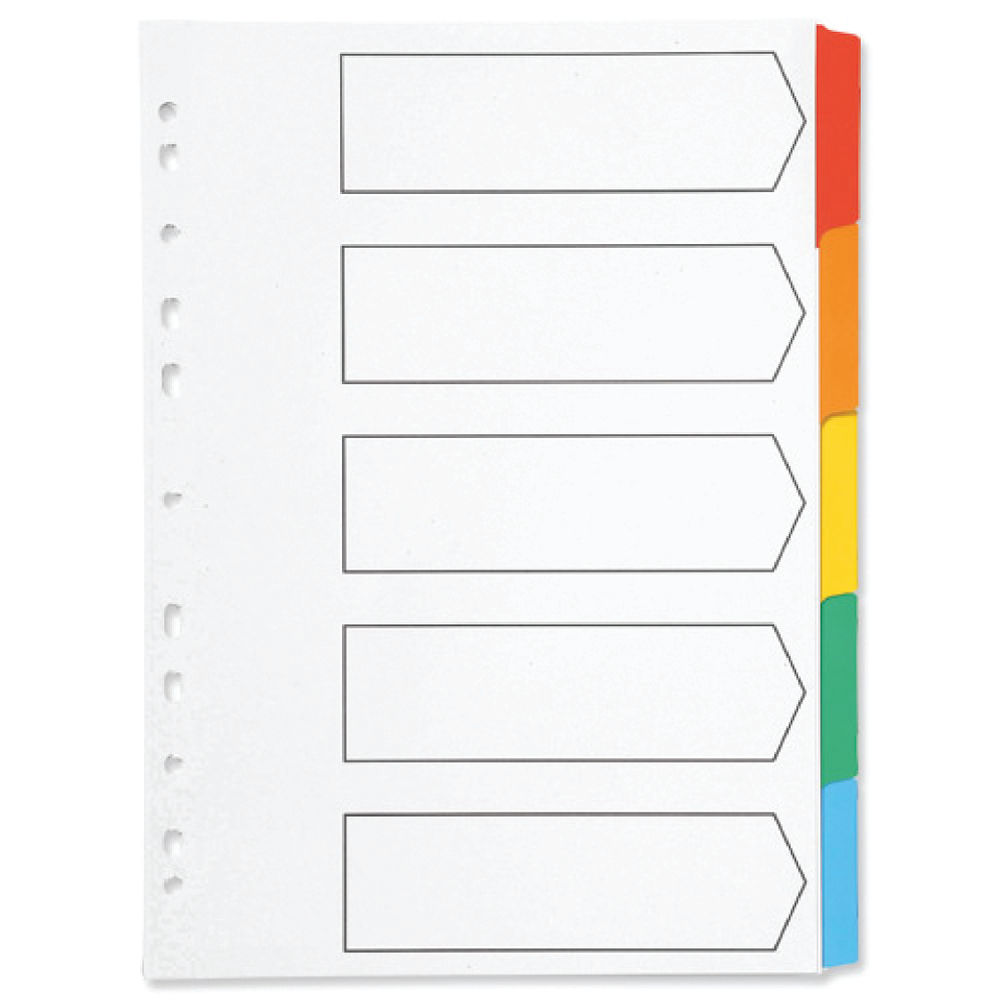 Q-Connect White A4 5-Part Multi-Punched Index Dividers - KF01525