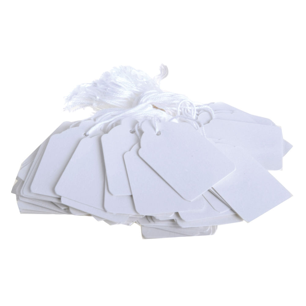 White 30 x 21 mm Strung Tickets (Pack of 1000) – KF01617