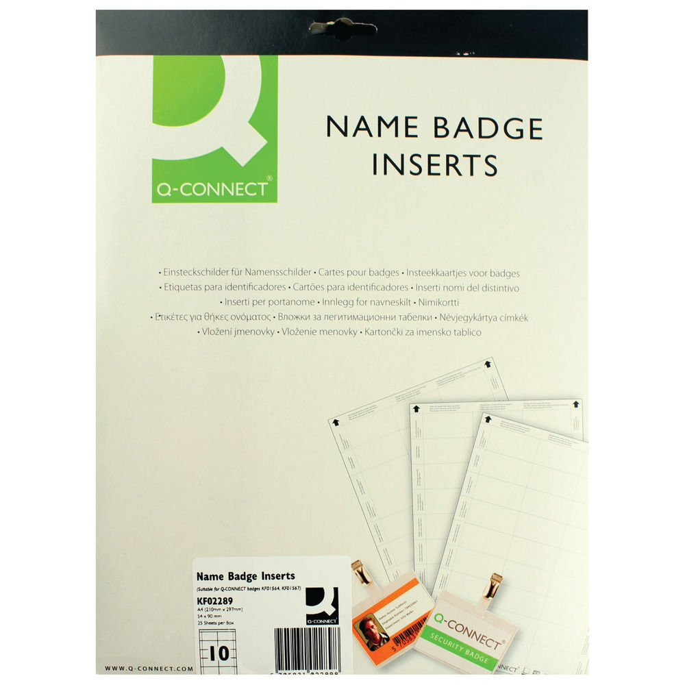 Q-Connect 54 x 90mm Name Badge Inserts, Pack of 250 - KF02289