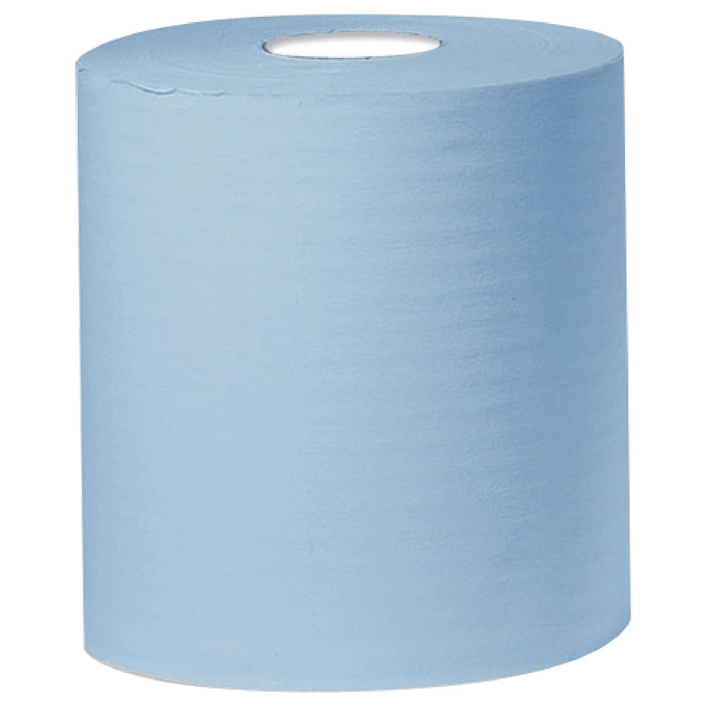 2Work Blue 2-Ply Centrefeed Rolls, Pack of 6 - KF03805