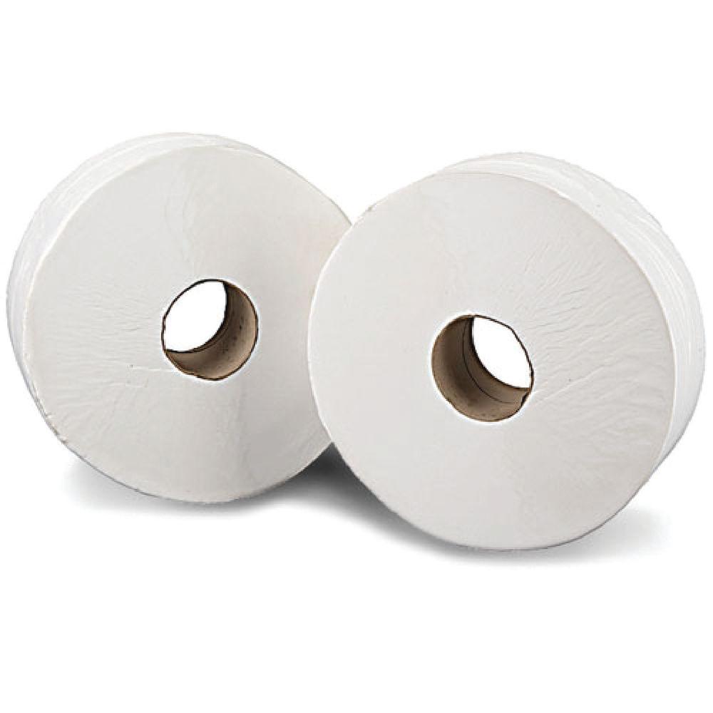 2Work White 2-Ply Mini Jumbo Toilet Rolls, Pack of 12 - J26200VW