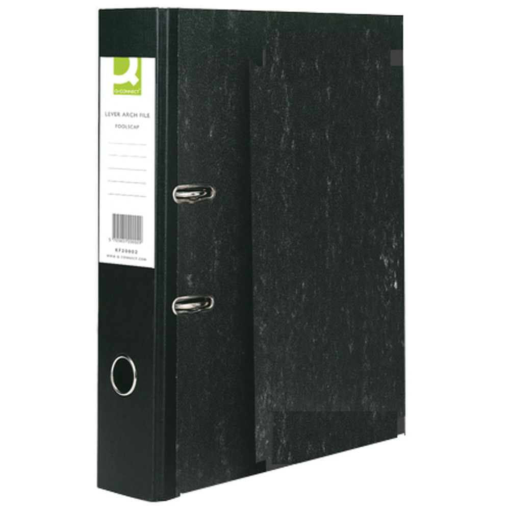 Q-Connect Black Foolscap Lever Arch Files, Pack of 10 - KF20002