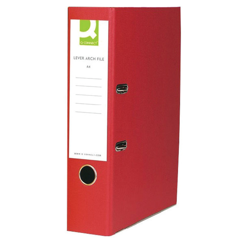 Q-Connect Red Paper-Backed Lever Arch Foolscap File - KF20031X