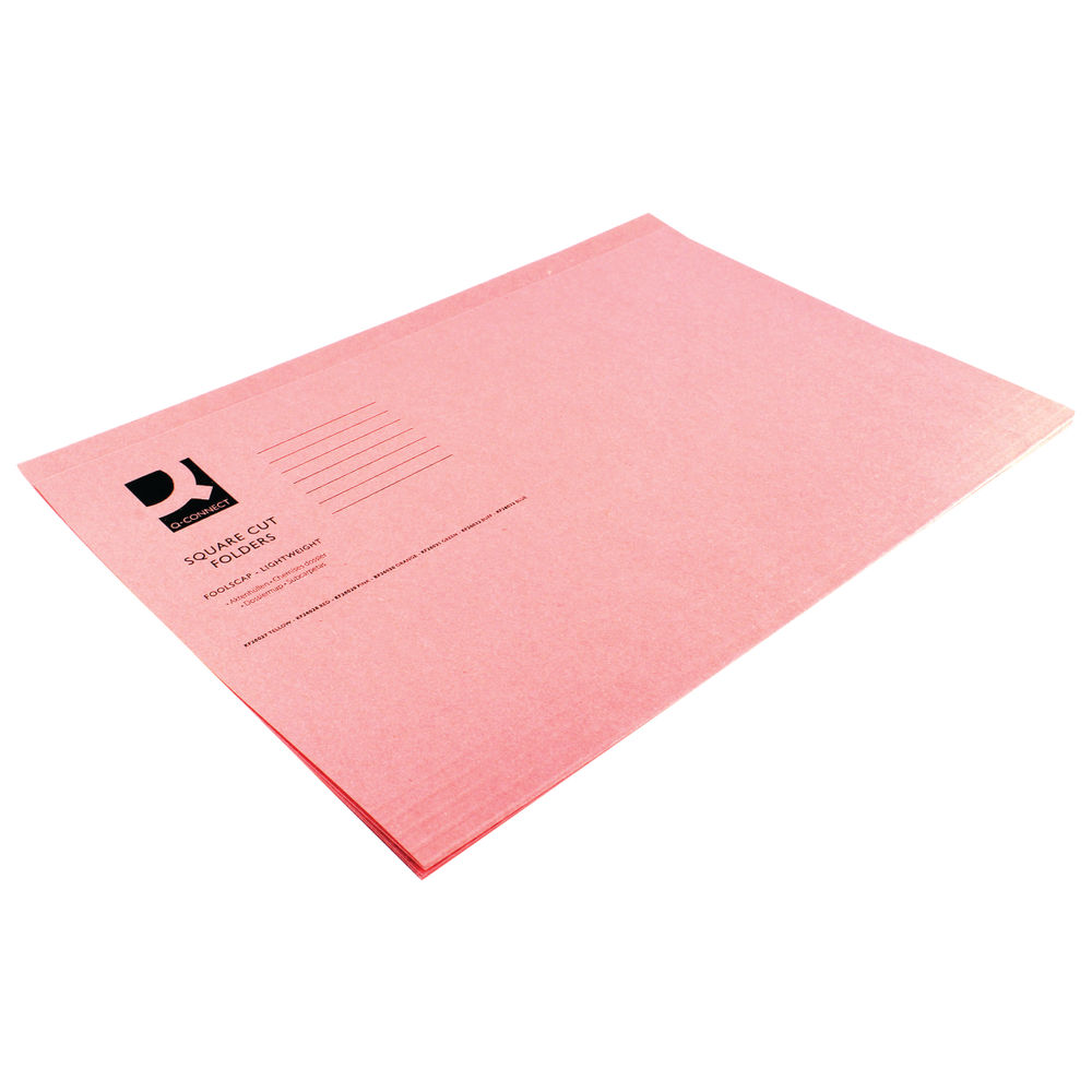 Q-Connect Pink Foolscap Square Cut Folders 180gsm, Pack of 100 - KF26029