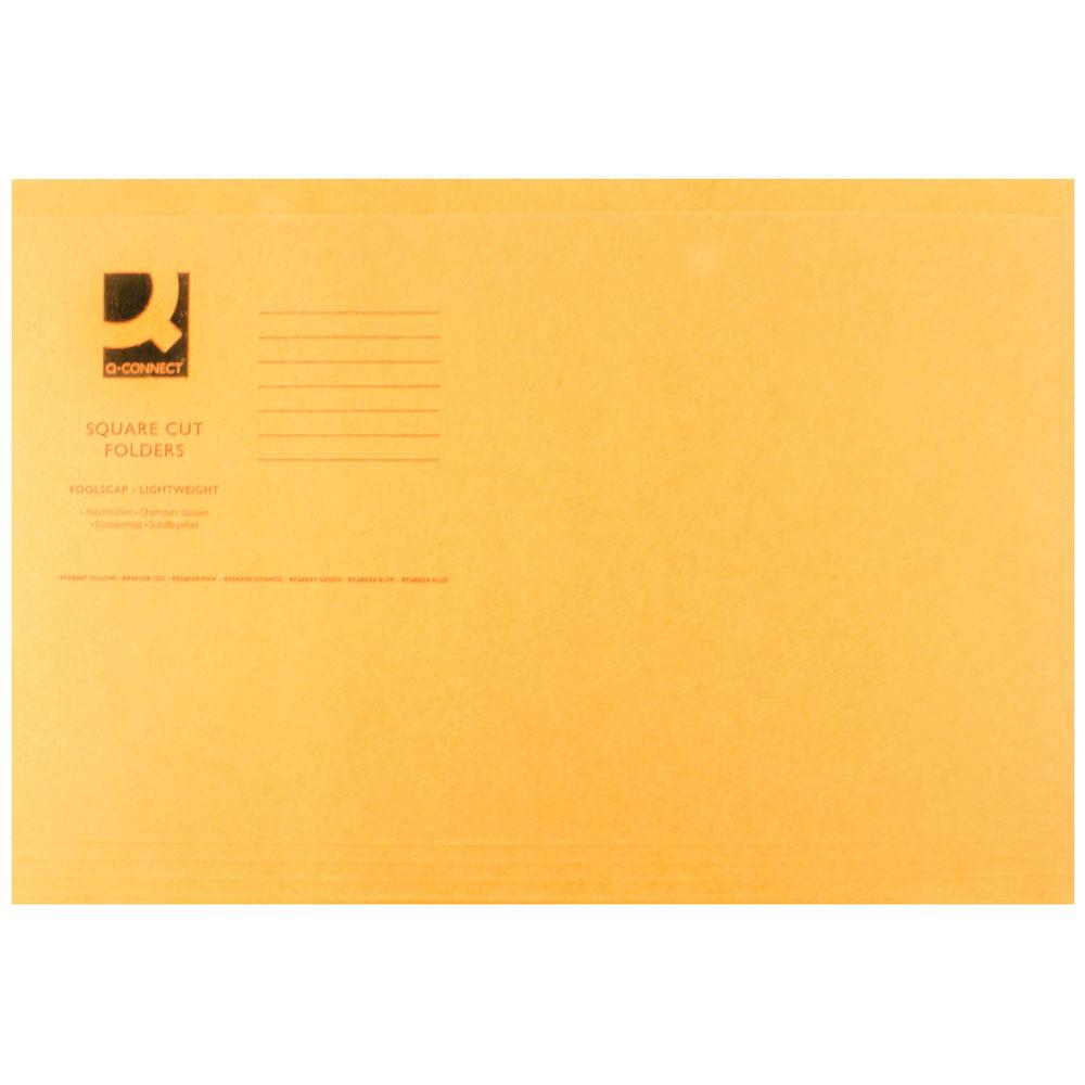 Q-Connect Orange Foolscap Square Cut Folders 180gsm, Pack of 100 - KF26030