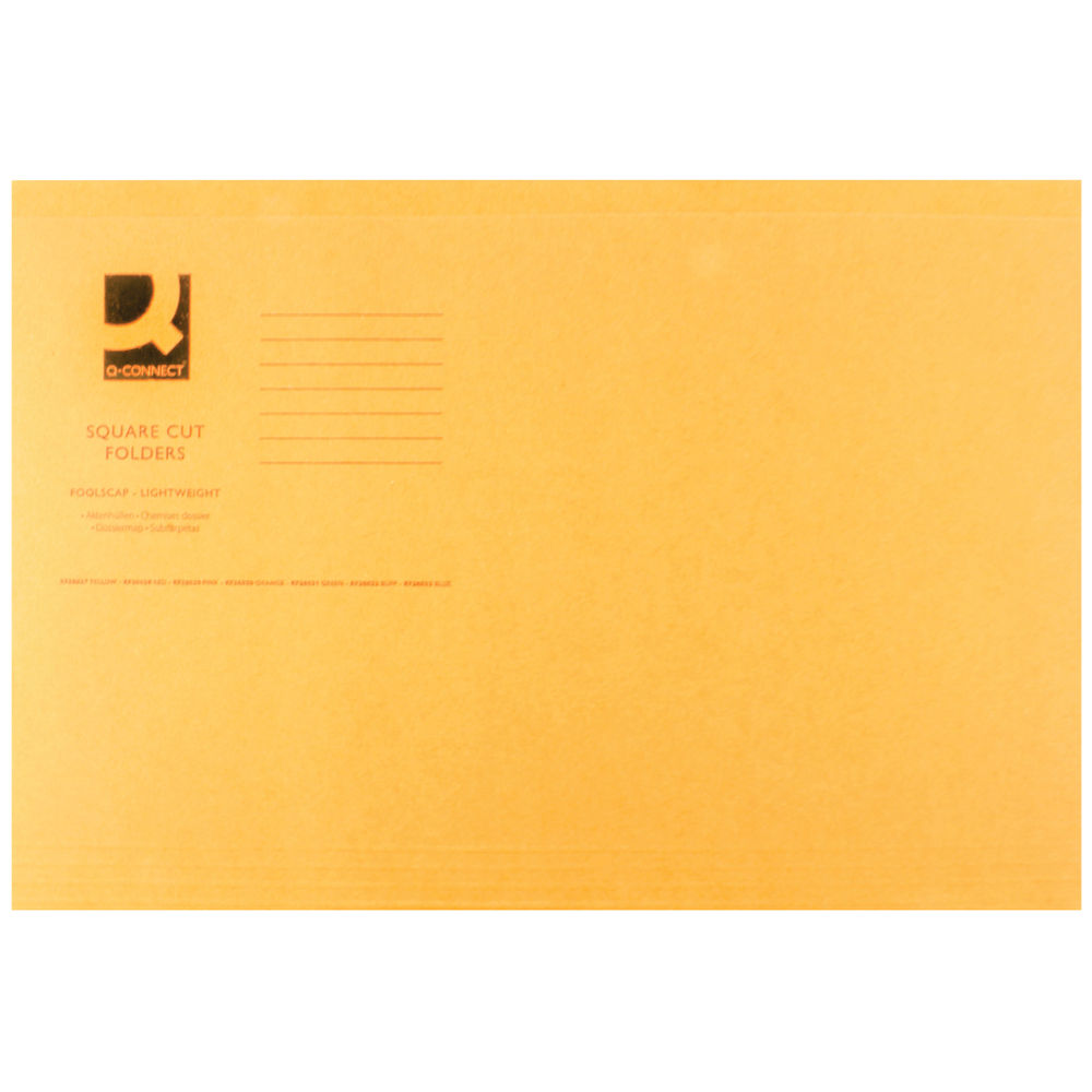 Q-Connect Orange Foolscap Square Cut Folders 180gsm, Pack of 100 - KF26030
