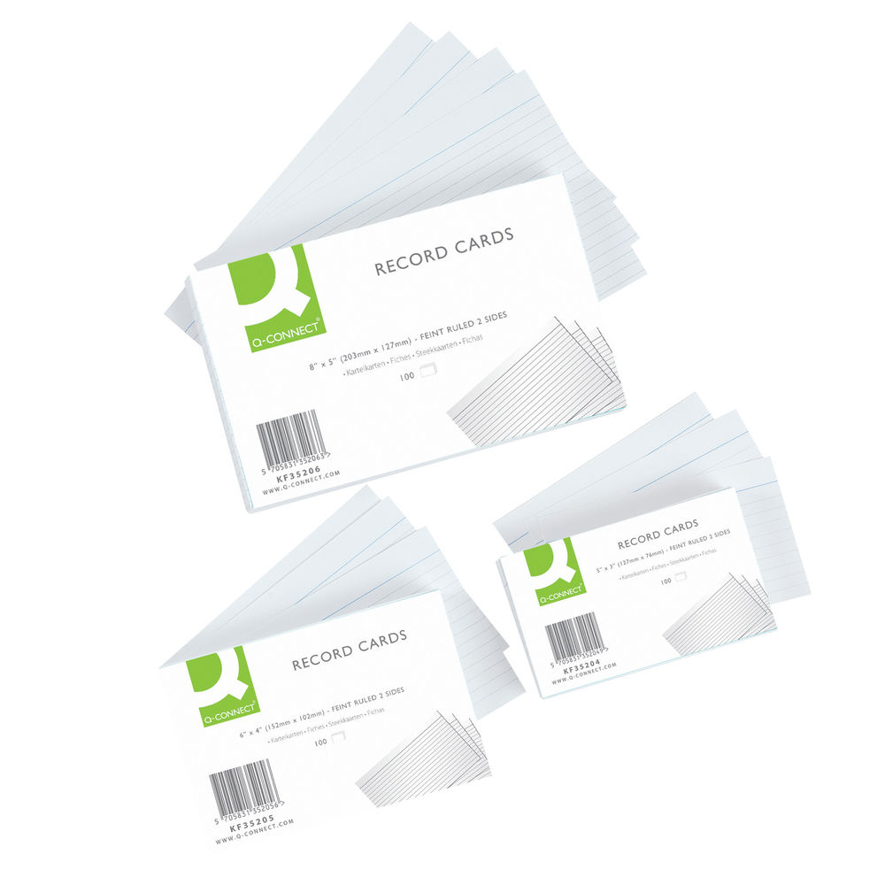 Q-Connect White 8 x 5 Inches Record Cards, Pack of 100 - KF35206