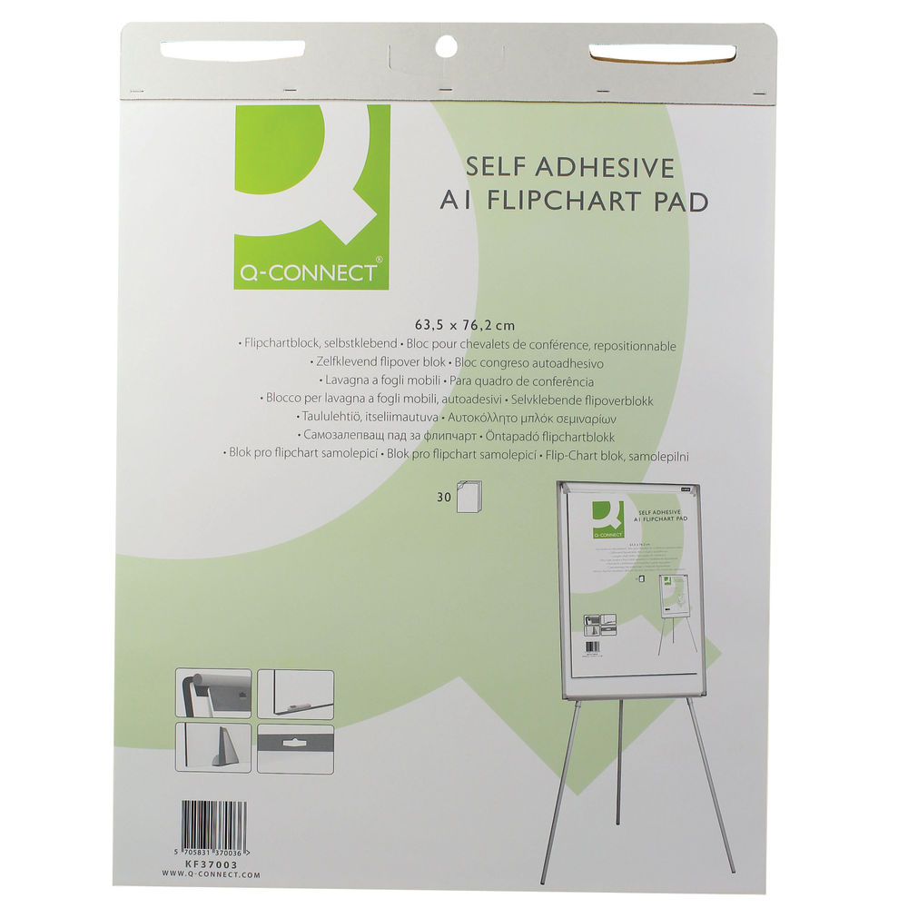 Q-Connect A1 Self-Adhesive Flipchart Pads, Pack of 2 - KF37003