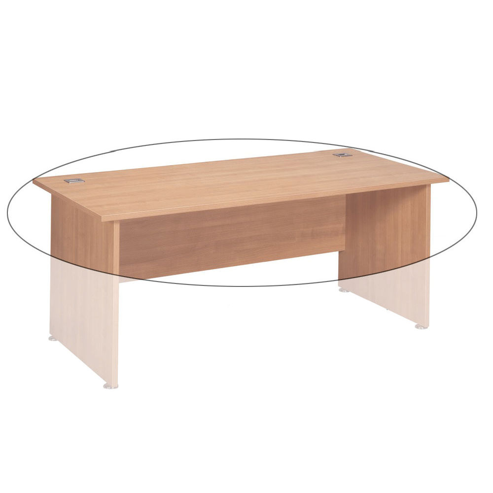 Avior 2000mm Bow Front Desk Box A Top And Modesty Panel Ash KF72269