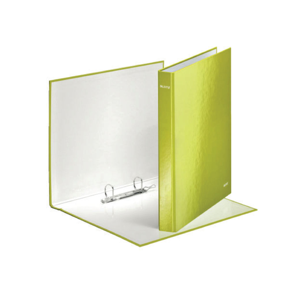 Leitz WOW Green A4 Maxi 2 D-Ring Binders 25mm, Pack of 10 - 42410064