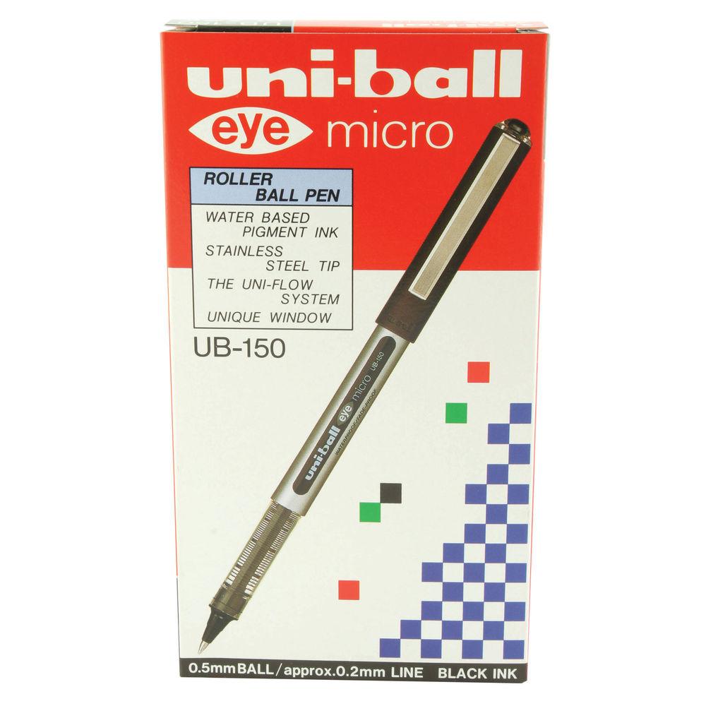 Uni-Ball 162545000 0.5 mm Nib UB-150 Eye Micro Rollerball Pen Pack of 12 Black