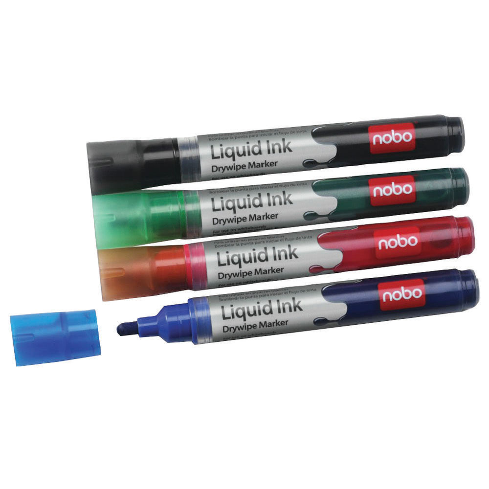 Nobo Liquid Ink Assorted Colours Drywipe Markers - Pack of 6 - 1901077