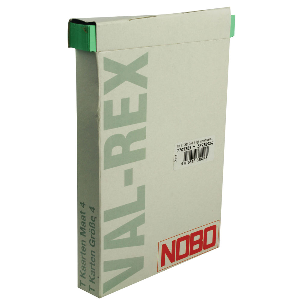 Nobo Light Green T-Cards - Size 4 - (Pack of 100) - 32938924