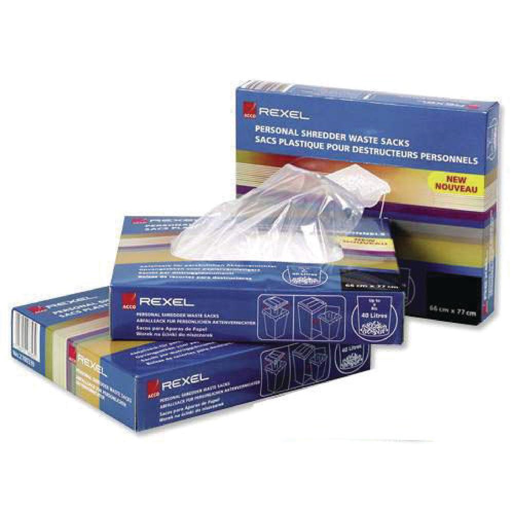 Rexel AS1000 Plastic Shredder Waste Sacks, Pack of 100 - 40070