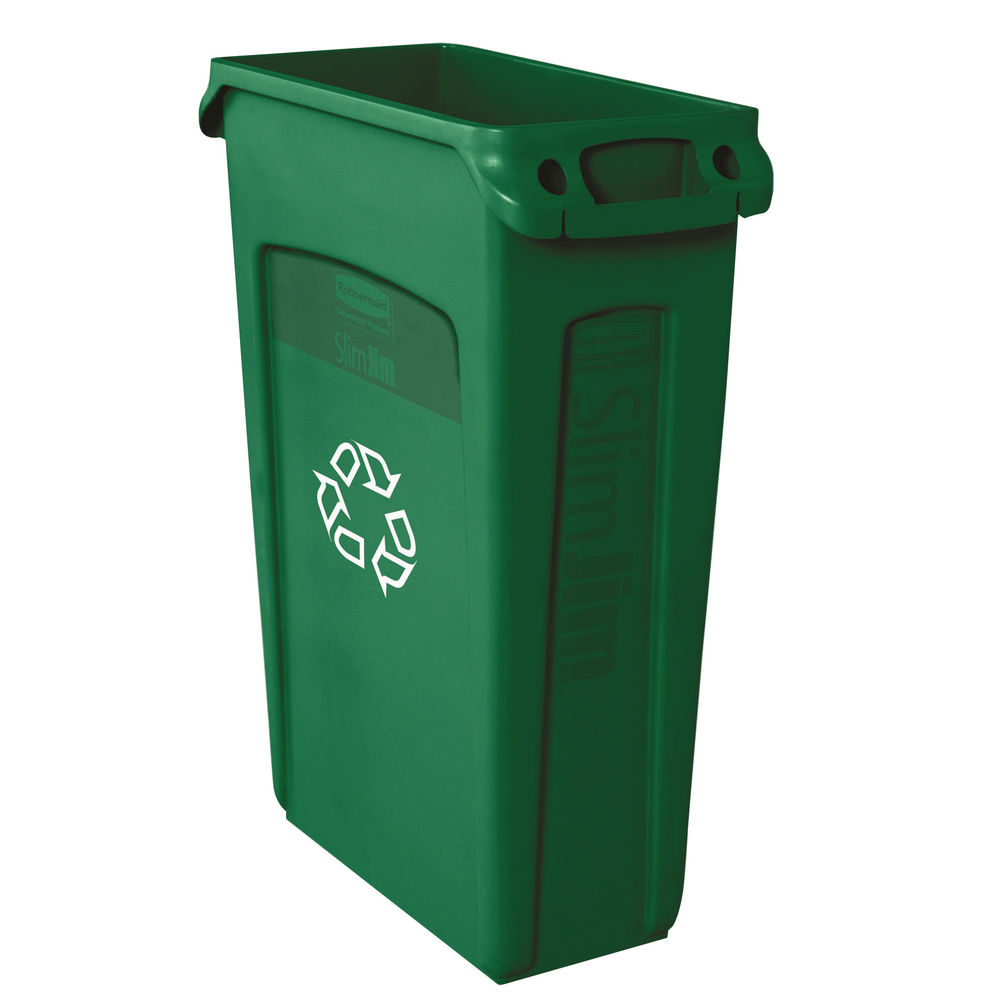 Rubbermaid Green 87 Litre Slim Jim Venting Channel Container - 3540-07-GRN