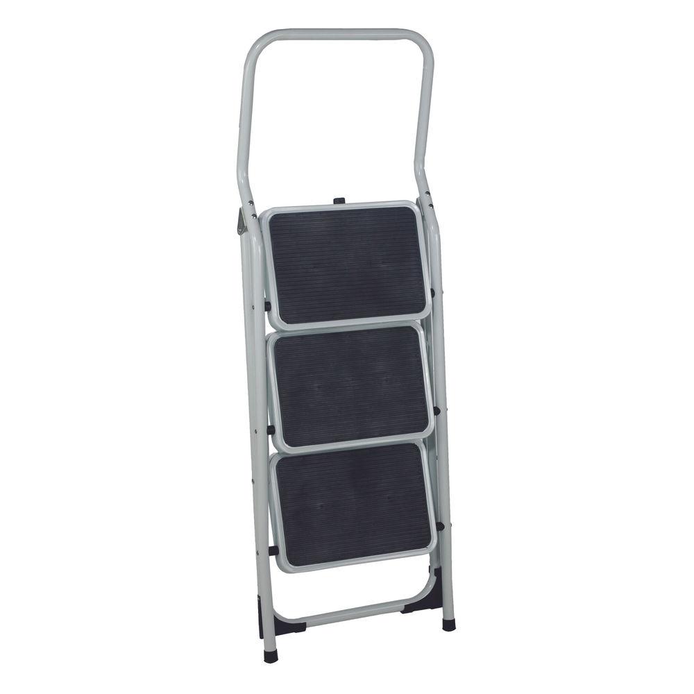 Folding Step Stool 3 Tread High Back White Aluminium 402791