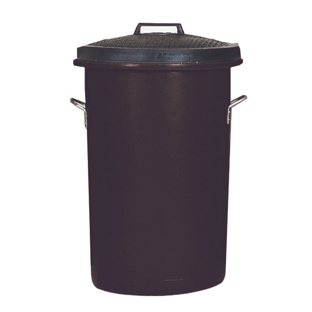 Heavy Duty Coloured Dustbin 85 Litre Black (2 handles on base and 1 on lid for easy handling) 311961