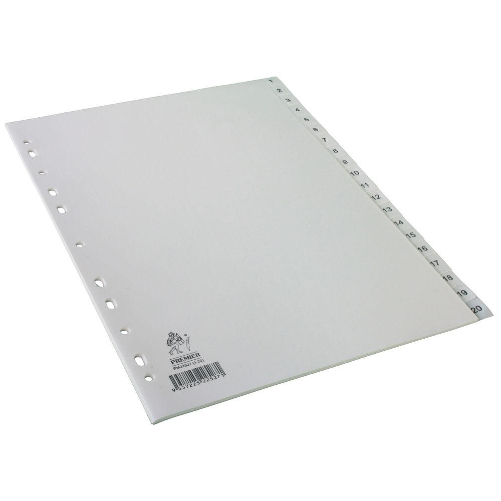 A4 White 1-20 Polypropylene Index - WX01356