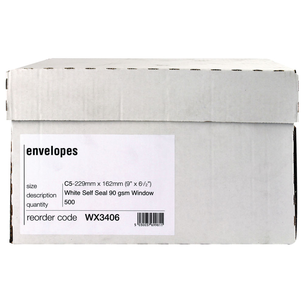 Staples C5 Window Self Seal White Boxed Envelope (Pack of 500)