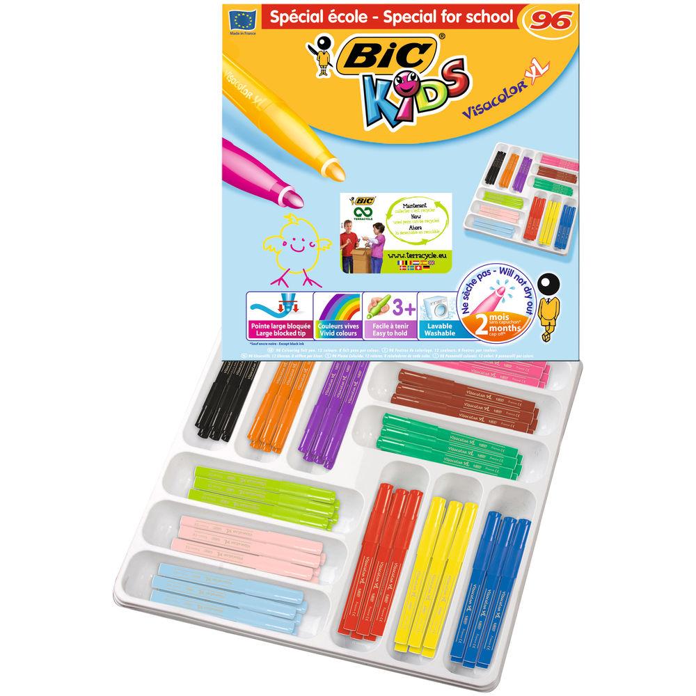 BIC Kids Visacolor XL Felt Tip Pens, Pack of 96 - 887839