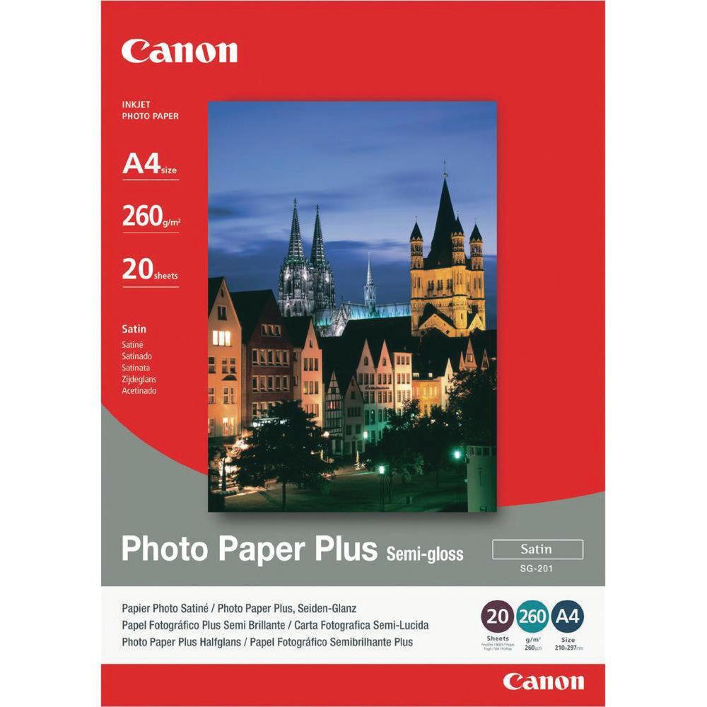 Canon White A4 Semi-Gloss Photo Paper, 260gsm - 20 Sheets - CO40537