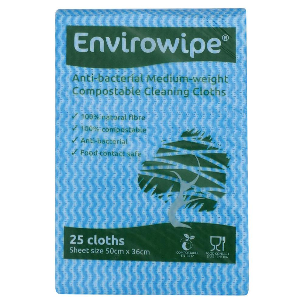Envirowipe Antibacterial Cleaning Cloths 500x360mm Blue (Pack of 25) EWF150