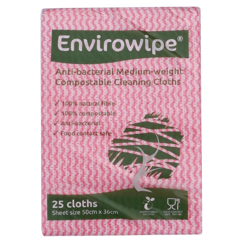 Envirowipe Red Antibacterial Cleaning Cloths, Pack 25 - EWF150