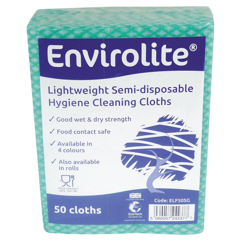 Envirolite Green Lightweight All Purpose Cloths, Pack of 50 - ELF500