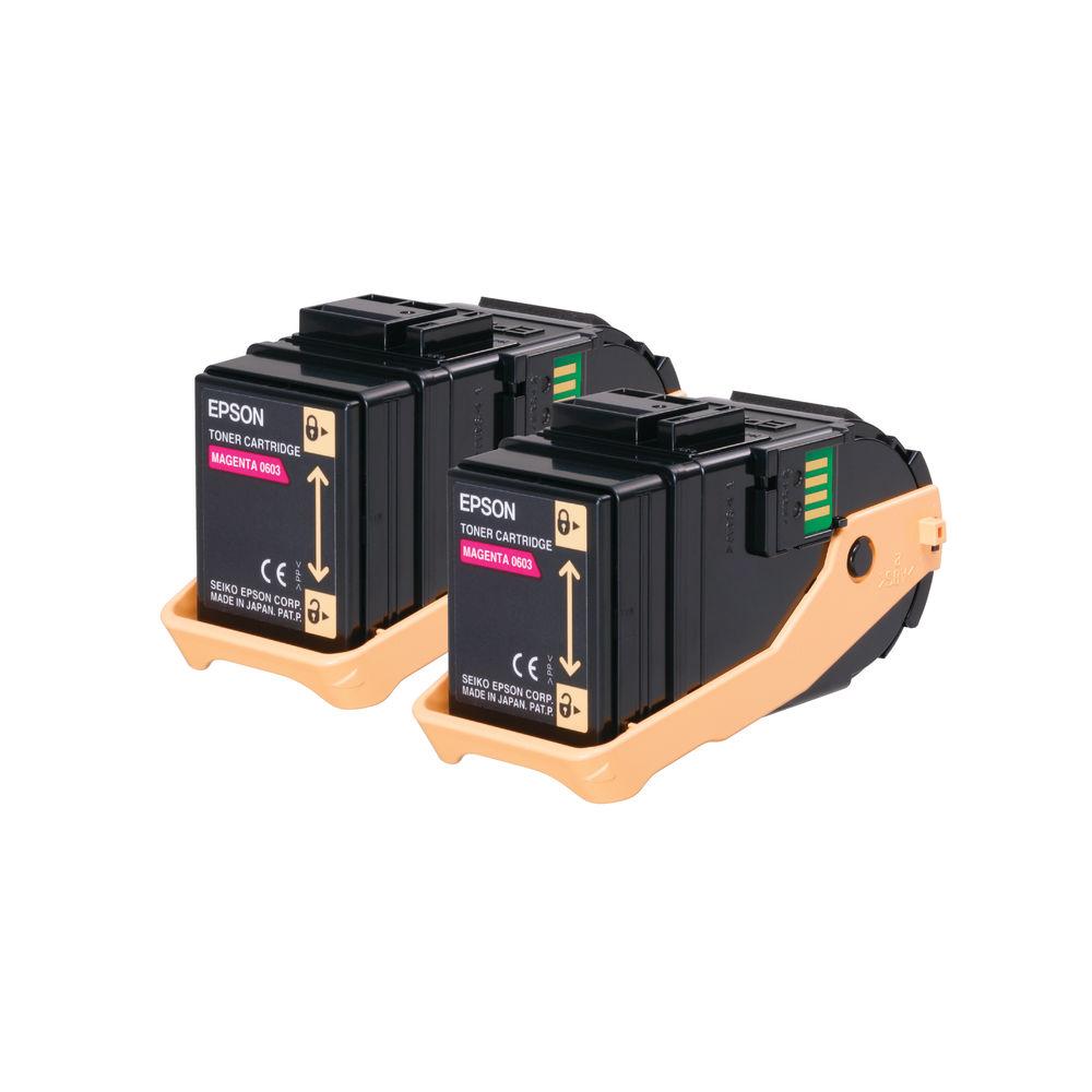 Epson S050607 Magenta Toner Cartridge Twin Pack (Pack of 2) C13S050607