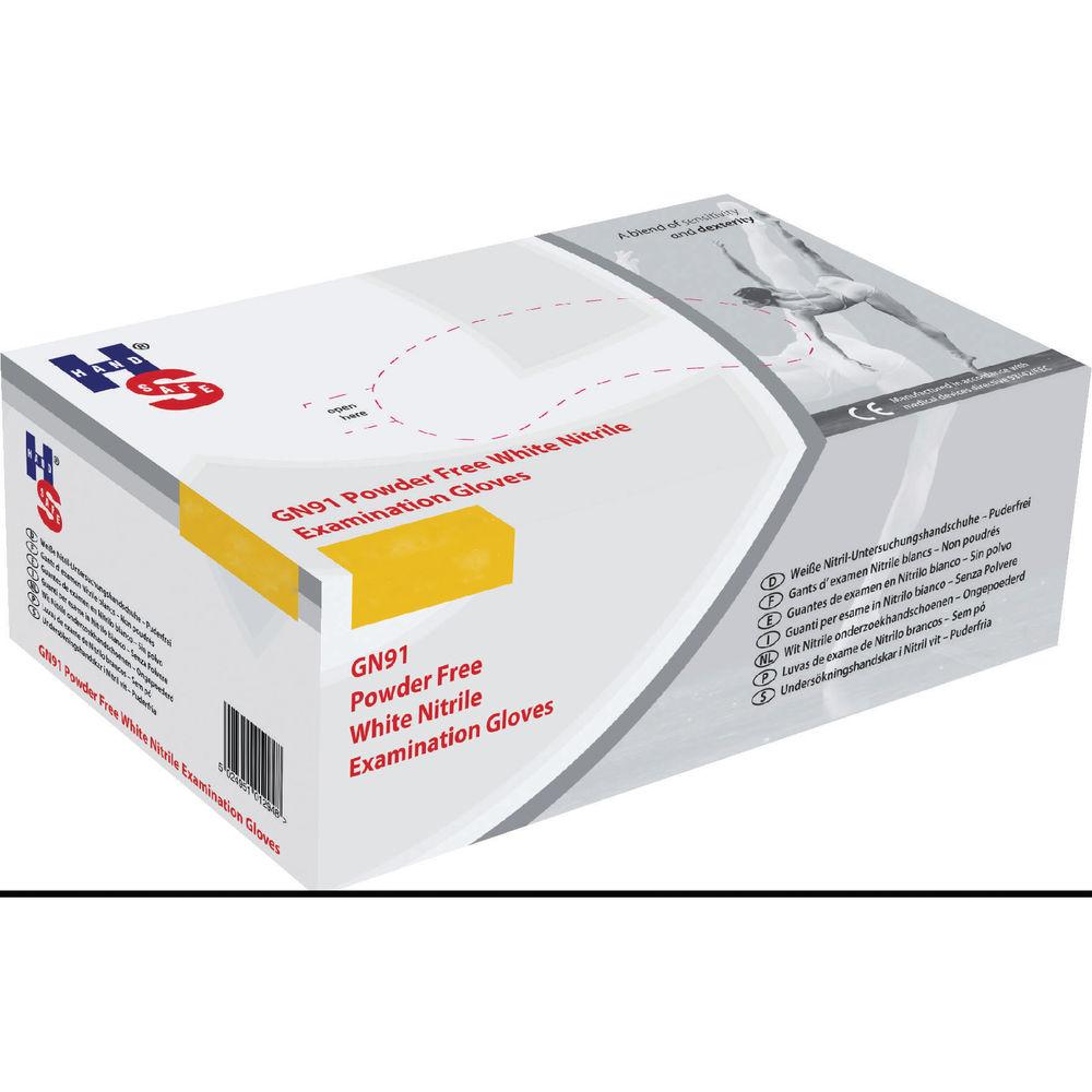 Handsafe Nitrile Powder Free Examination Medium Gloves White (Pack of 2000) HEA01301