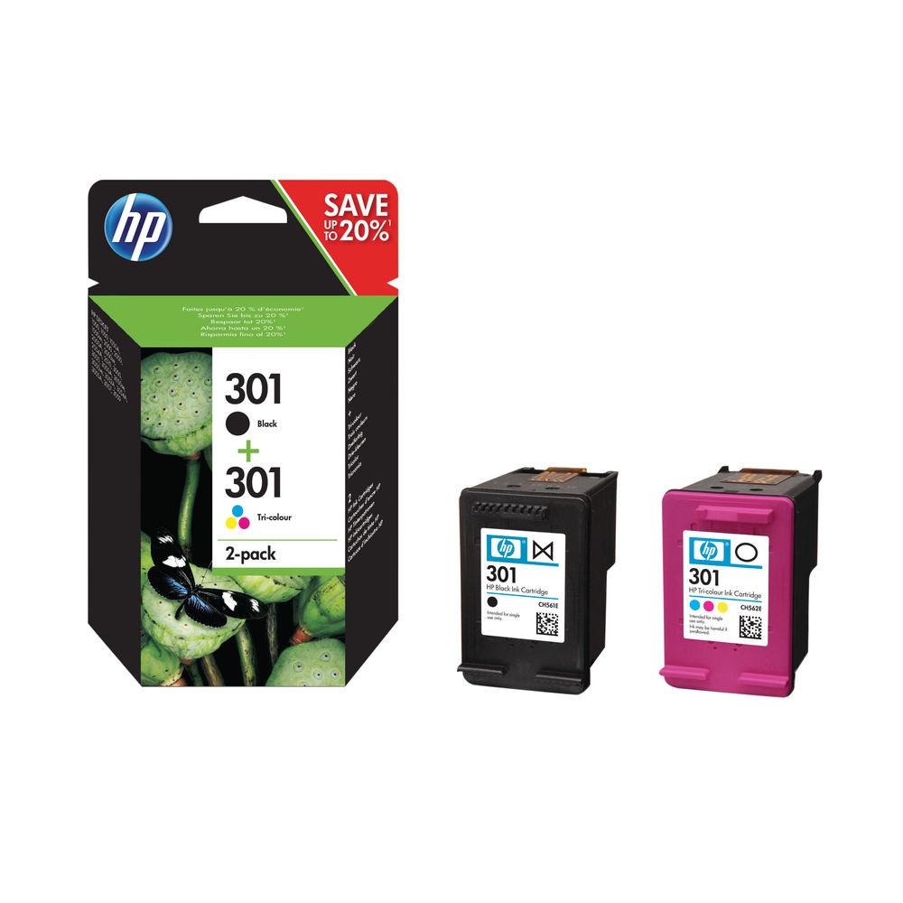 HP 301 Black and Colour Ink Cartridge Dual Pack - N9J72AE